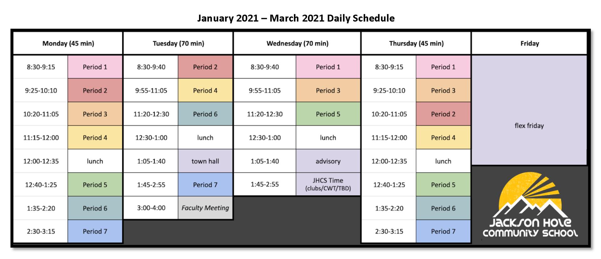 2021 Jan-Mar Schedule
