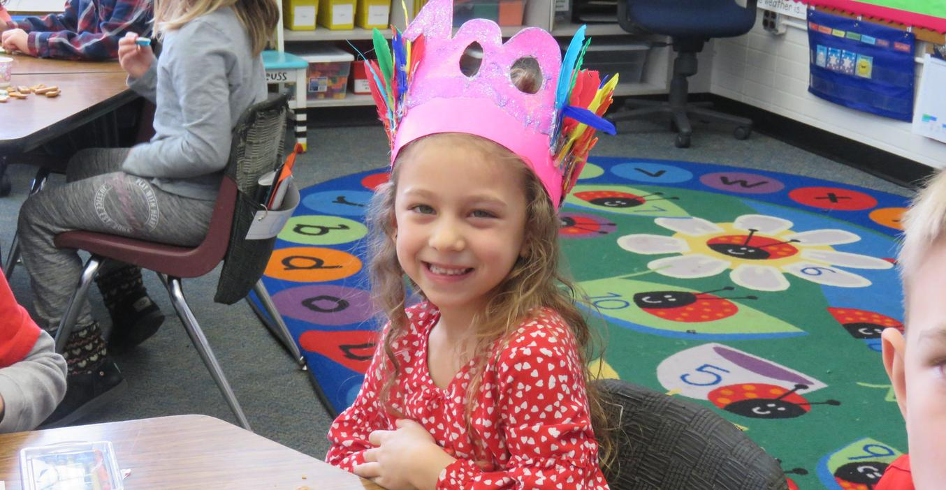 McFall students make fancy hats to celebrate 100th Day of School.