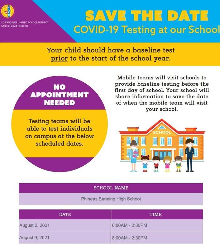 COVID-19 Testing at Banning HIgh School - 8/2 and 8/9 from 8-2:30PM Featured Photo
