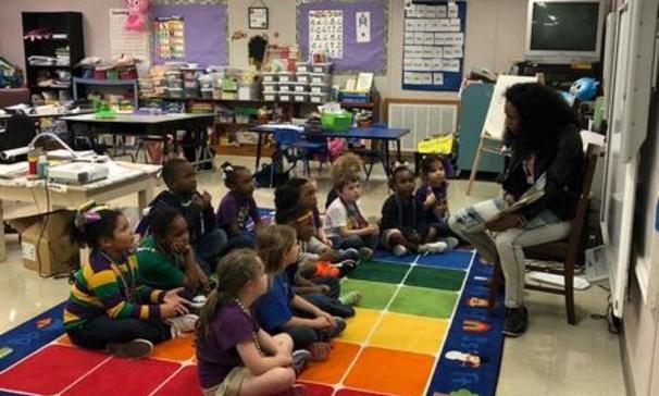 Mrs. Zerangue's kindergarten class enjoyed listening to the story