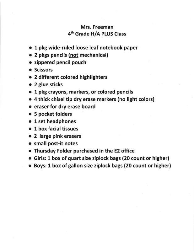 Supply List for 4th Grade High Ability/Plus Thumbnail Image