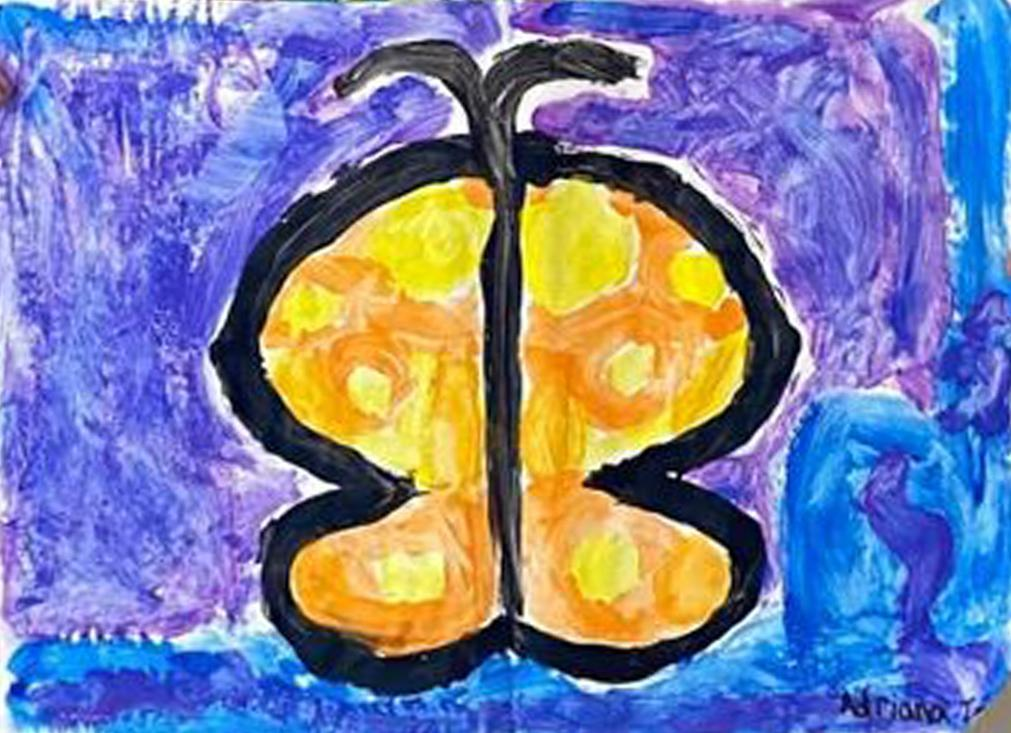 A first grader's excellent symmetrical acrylic painting of a butterfly
