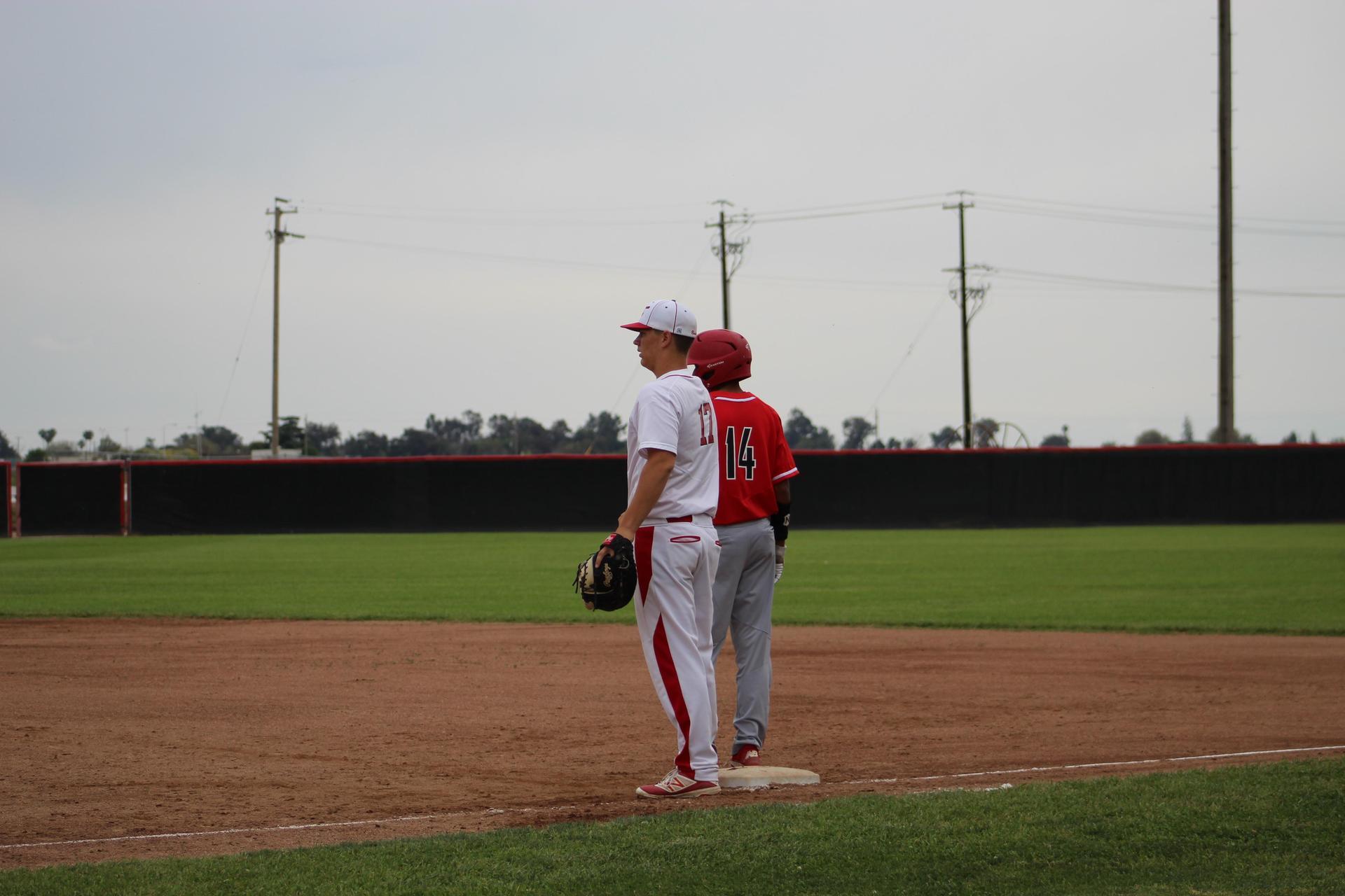 Varsity Baseball playing against Kerman
