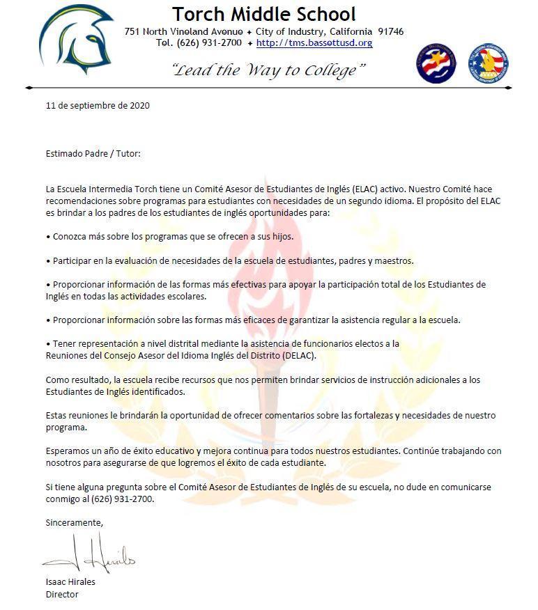 ELAC Parent Letter Spanish 2020-2021