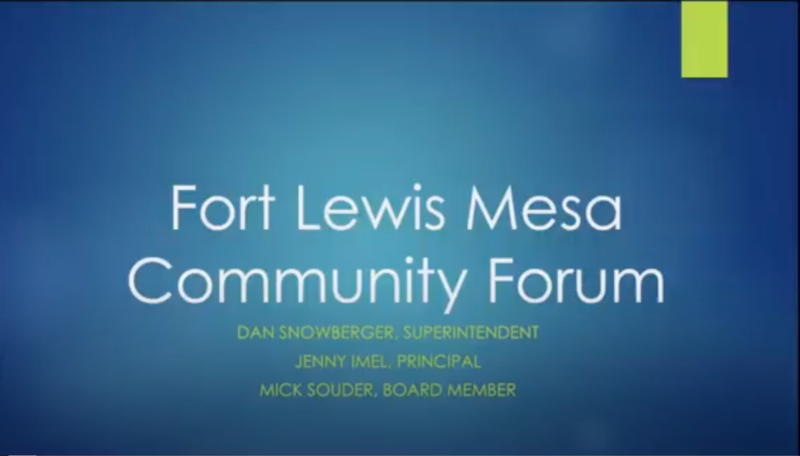Screen shot of video of community forum