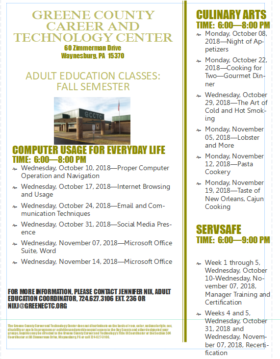 Adult Education Classes Being Held at CTC Thumbnail Image