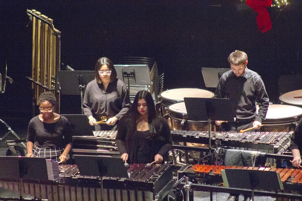 Several members of the percussion ensemble