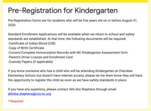 Kindergarten Pre-Registration Form