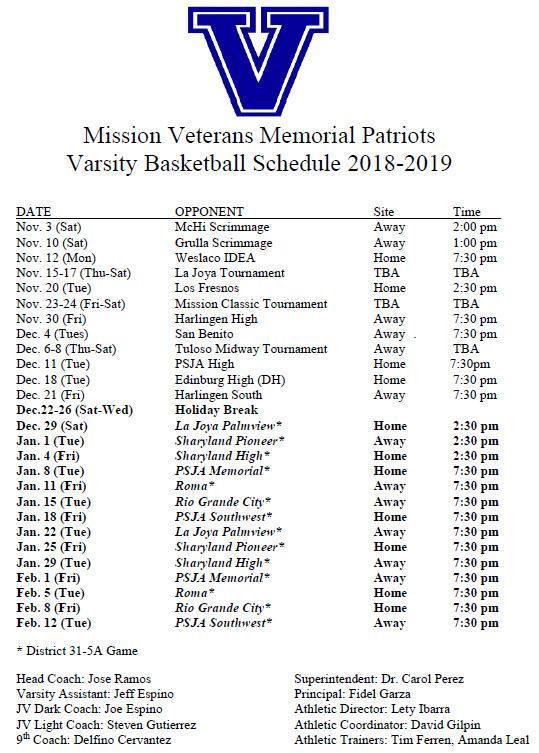 VMHS Varsity Schedule