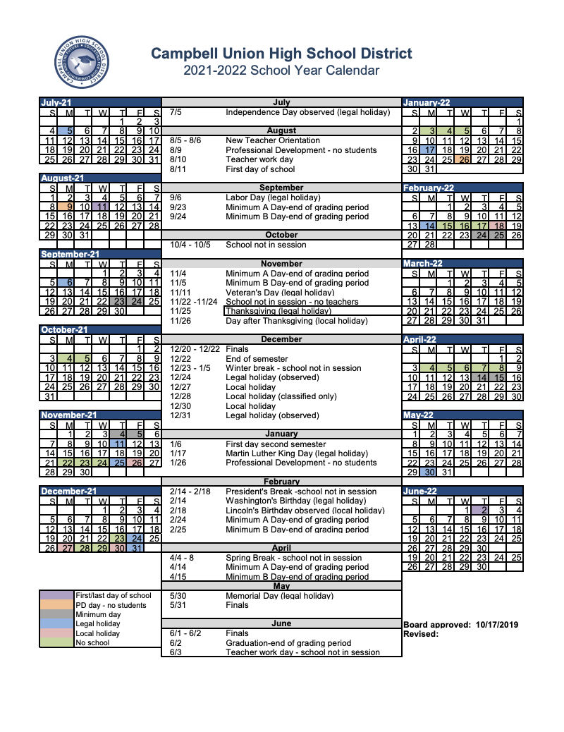 screen shot of 2021-2022 calendar
