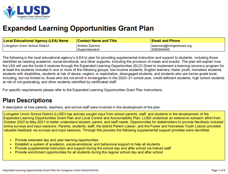 Expanded Learning Grant Plan Cover Page