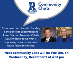 Next Community Chat with Superintendent Jason Enix and Treasurer Colette Lewis to be held Wednesday, December 9 at 4:30pm