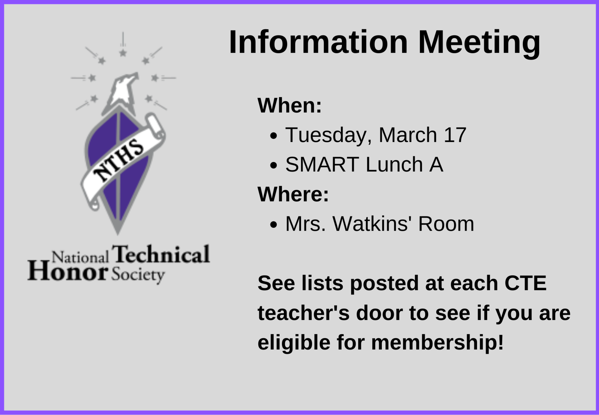 NTHS Information Meeting