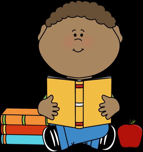 boy reading clipart