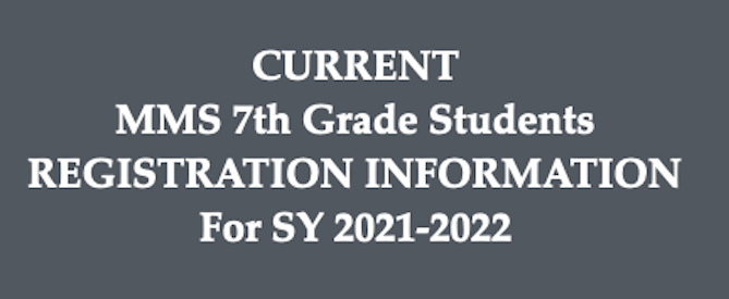 * ENROLLMENT PLANS & 8th Grade REGISTRATION for SY2021-2022 * Featured Photo