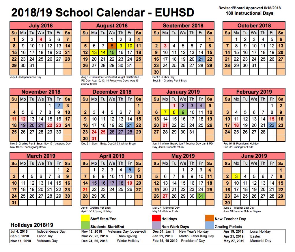 Euhsd School Calendar Resources Del Lago Academy Campus Of