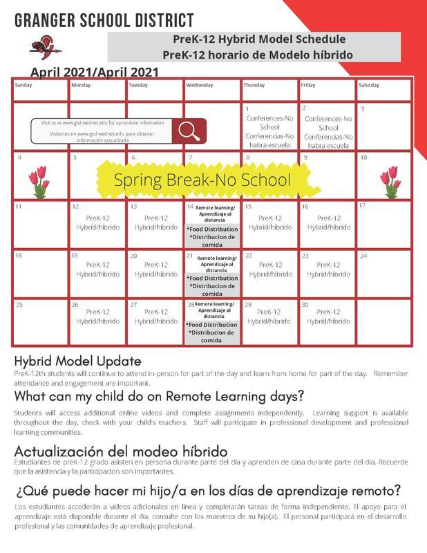 April learning/food calendar
