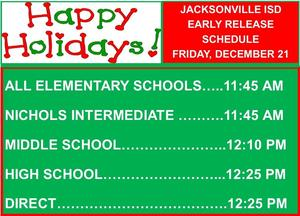 times for holiday early release on december 21