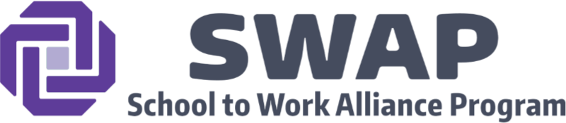 Swap logo with a purple octagon to the right of the acronym SWAP and the words school to work alliance program