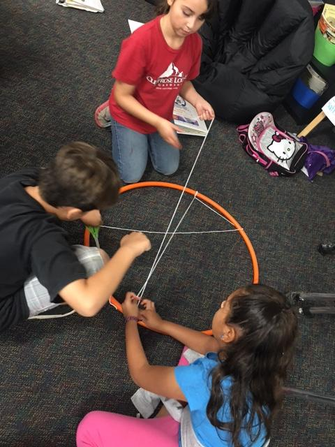 Students using critical thinking to figure out how to untangle the rope from the hula hoop.