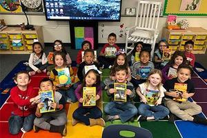 Kindergarten class with books
