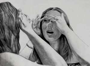 pencil drawing of girl looking in mirror
