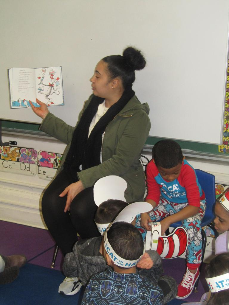 mother reading to a class