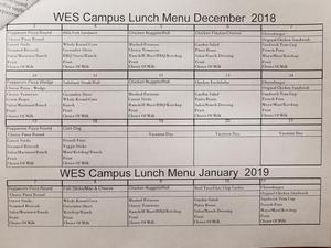 December Lunch Menu 2018