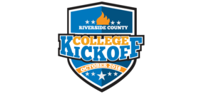 A shield logo for Riverside County College Kickoff October 2018