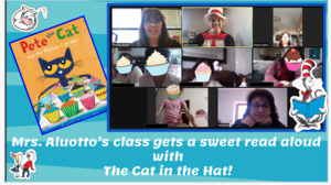 Zoom class with cat in the hat