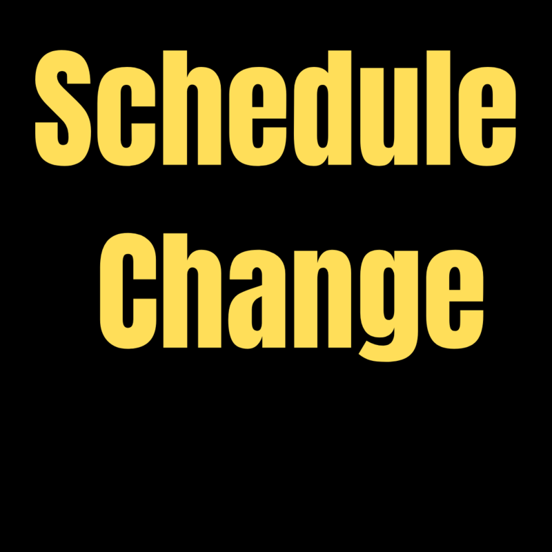 Schedule Change for the remainder of 2020 and the beginning of 2021
