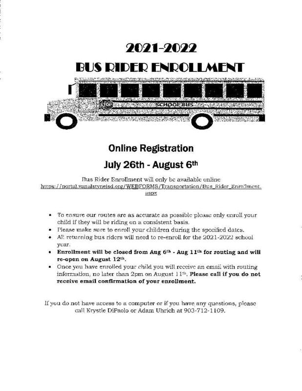 VAISD Bus Enrollment Thumbnail Image