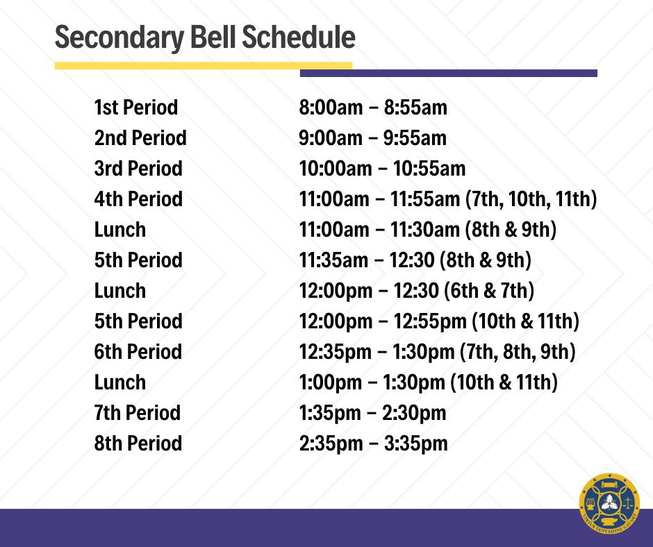 FCAS Secondary Bell Schedule
