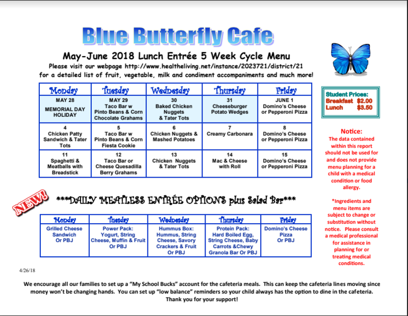 Butterfly Cafe menu for June Featured Photo