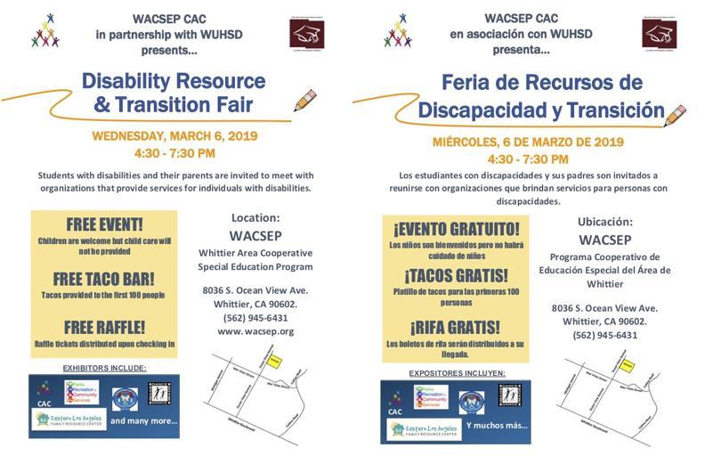 Thumbnail for the English and Spanish versions of the Disability Resource & Transition Fair