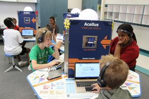 Students in Ms. Autry's 4th grade class complete work in the new Acellus STEM lab at B-L Elementary School.  The lab allows students to further develop their STEM (Science, Technology, Engineering and Math) skills, which, according to the U.S. Department of Education, are urgently needed for the future of our ever-changing, complex world.