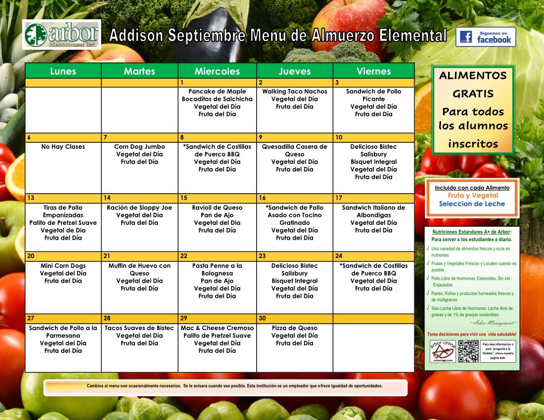 Spanish lunch menu for September