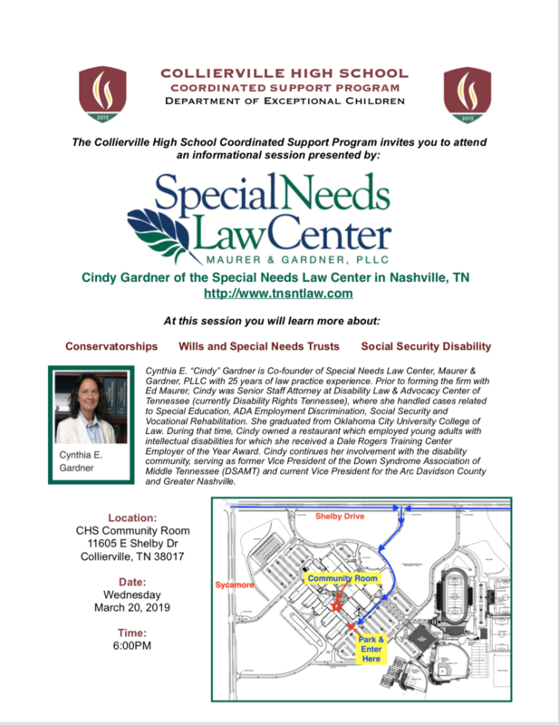 Information about the Special Needs Law Center session at CHS Featured Photo