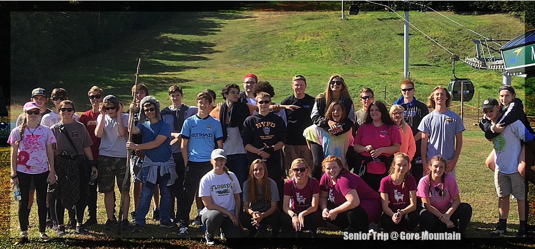 Photograph of the senior class on their class trip on the hill of Gore Mountain