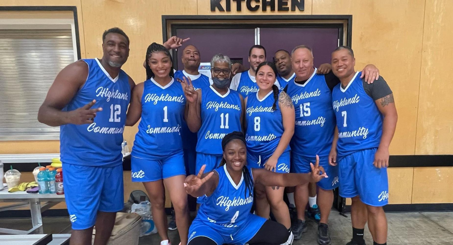 Highlands Basketball team for the Summer Slam event. Team pictured in blue jerseys.