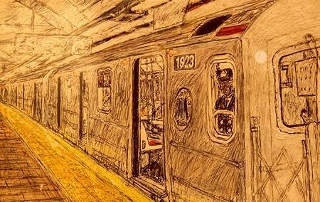 Drawing of a NYC subway car