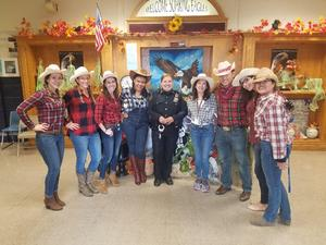 6th grade farmers with officer Diaz