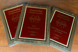 photo of plaques won at forensics tournament
