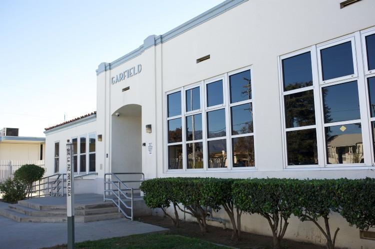 Outside Garfield School's main building