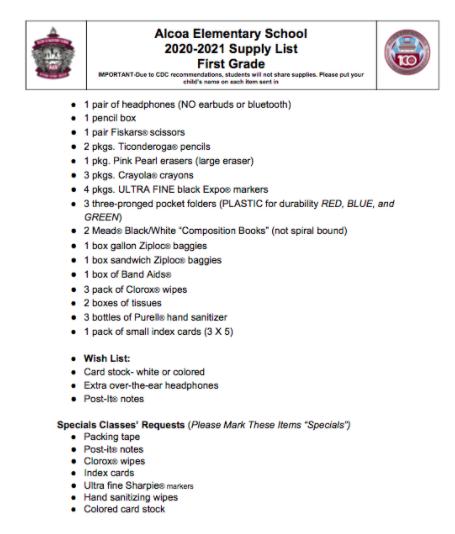 First Grade 2020-21 Supply List