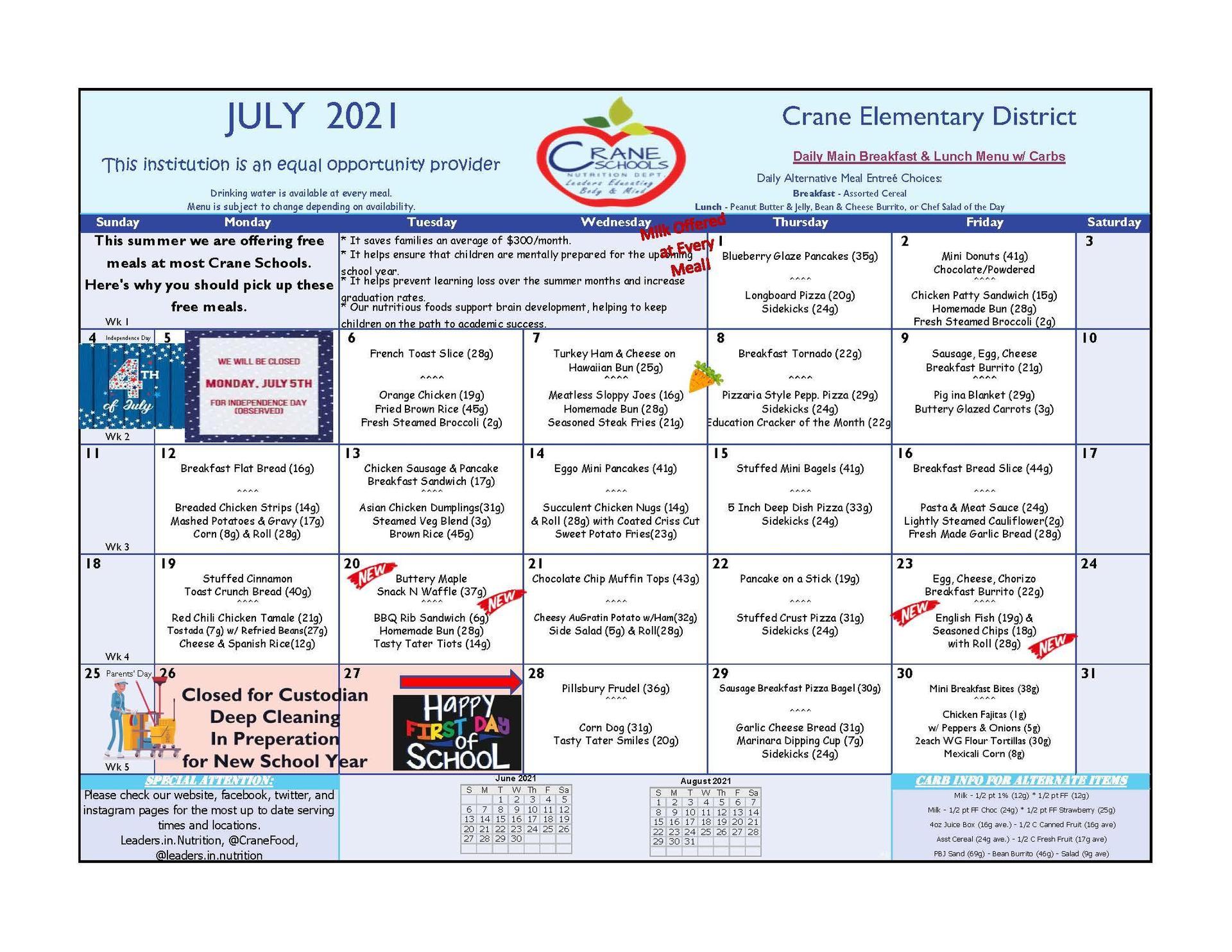 Crane Schools July Menu 2021