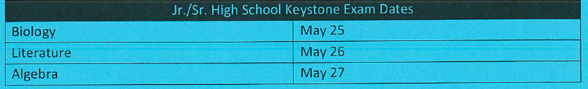 Keystone Assessment Dates