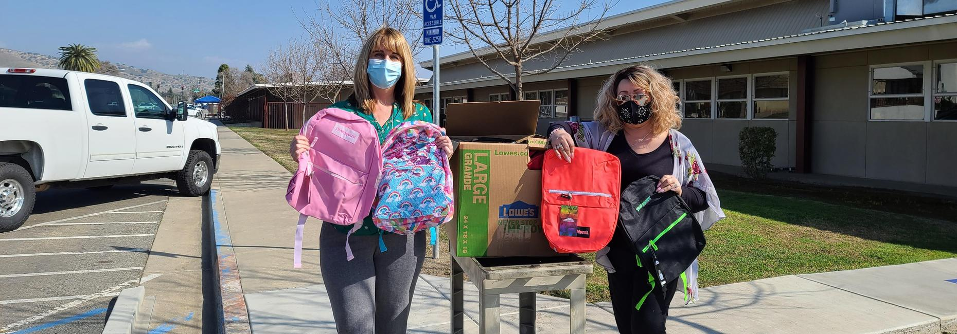 Backpacks and school supplies donated from Mothers United Against Gang Violence