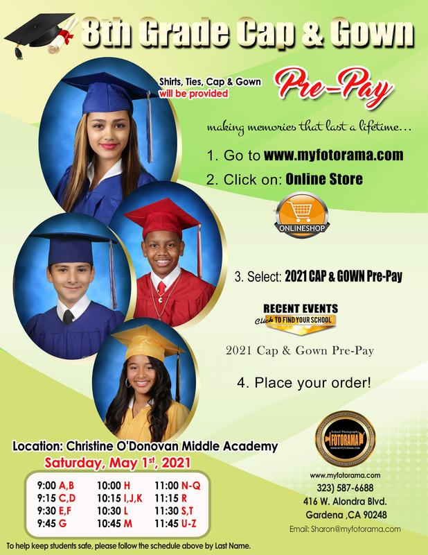 8th Grade Cap and Gown Pictures: Saturday, May 1st  9:00 am - 1:00 pm (by appointment only) Thumbnail Image