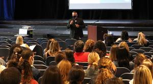Photo 1 Caption:   Westfield Superintendent of Schools Dr. Raymond González welcomes back staff during an opening day ceremony on Sept. 1.